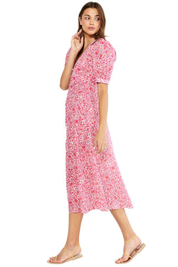 Misa - Betsee Dress - Pink Animal Floral