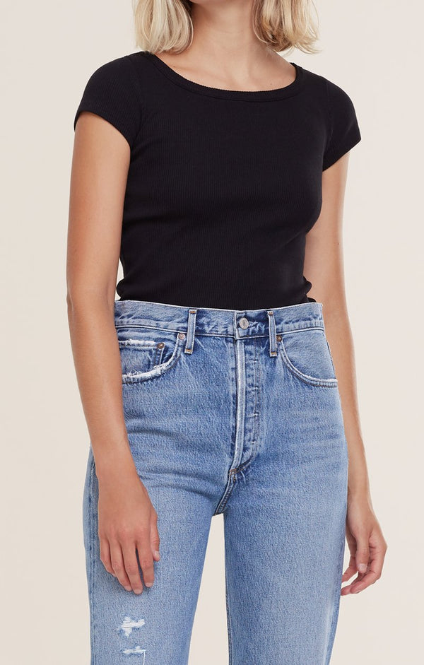 Agolde - 90's Scoop Neck Rib Tee - Black