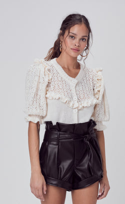 For Love & Lemons - Pearl Button Up Sweater - Ivory