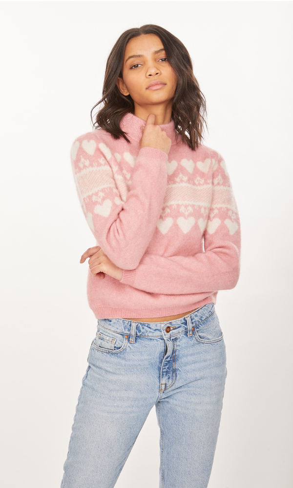 Generation Love - Charlie Heart Sweater - Pink/White
