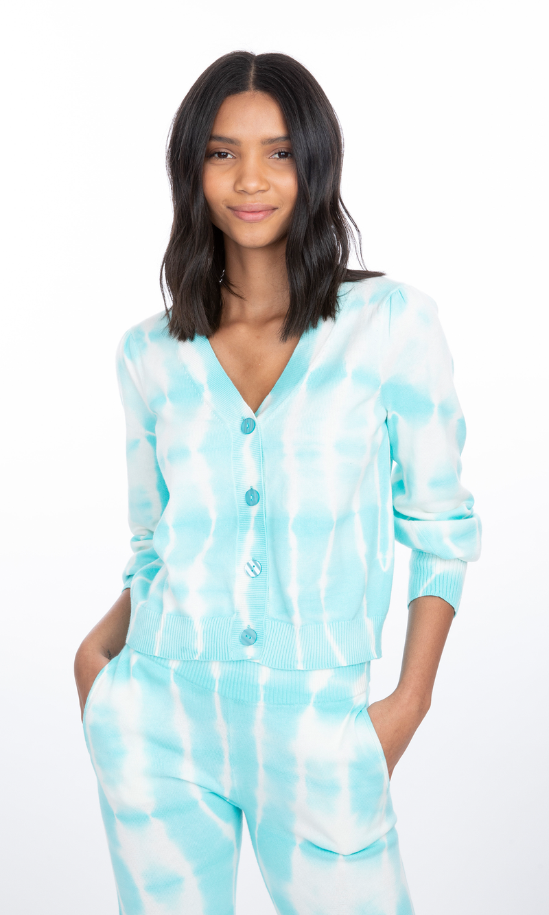 Generation Love - Coco Tie-Dye Sweater Cardigan - Turquoise/White Tie Dye