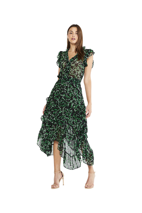 Misa - Dakota Dress - Green Mini Blooms