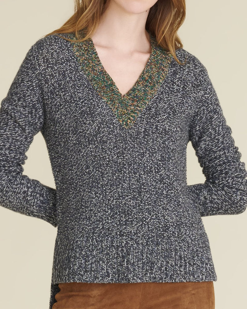 Veronica Beard - Dharma V-Neck Pullover - Navy Multi