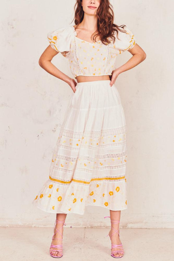 LoveShackFancy - Donna Skirt - Antique White