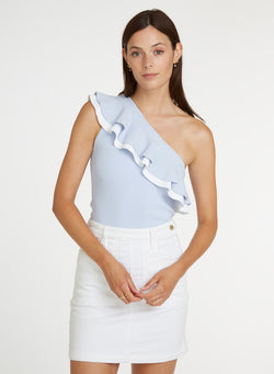 Autumn Cashmere - Double Ruffle one shoulder Tank - Helium/White