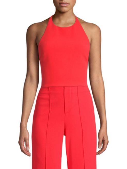 Alice + Olivia - Jaymee Tie Neck Crop Halter Top - Bright Poppy