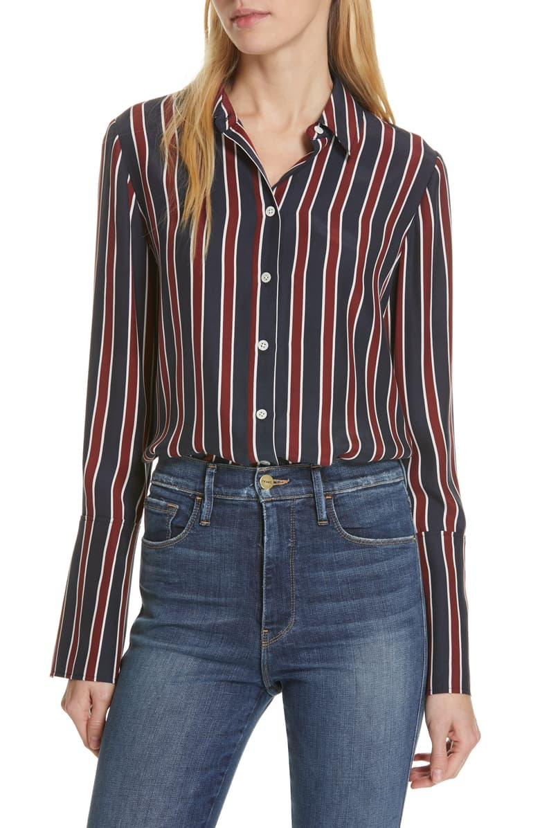 Frame - Pocket Silk Blouse - Navy Multi