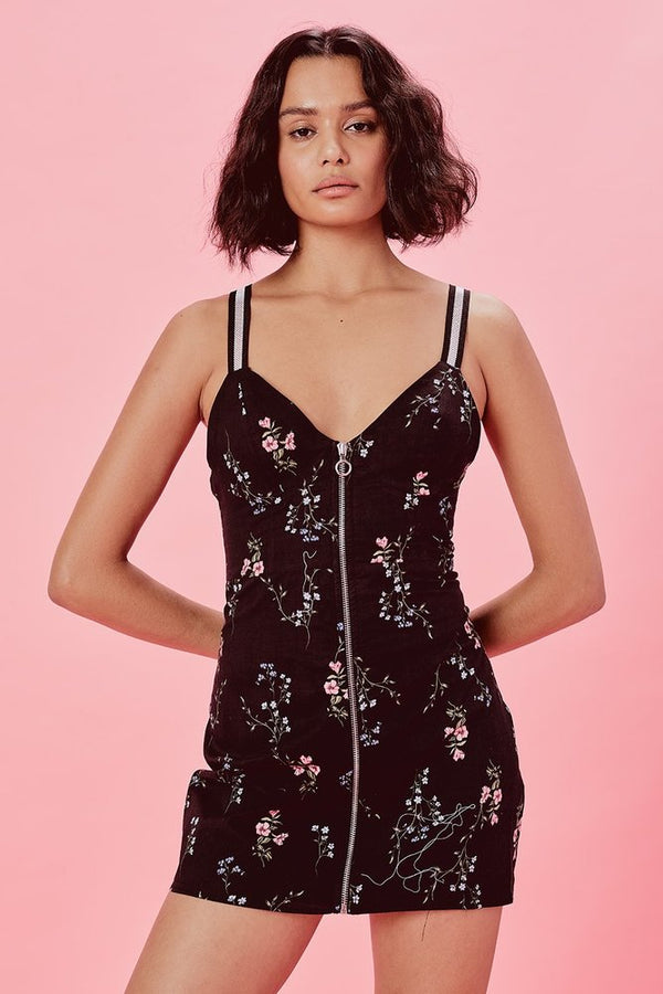 For Love & Lemons - Luz Fitted Dress - Black/ Floral