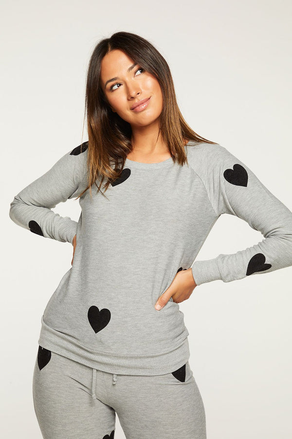 Chaser - Flocked Hearts Pullover - Heather Grey
