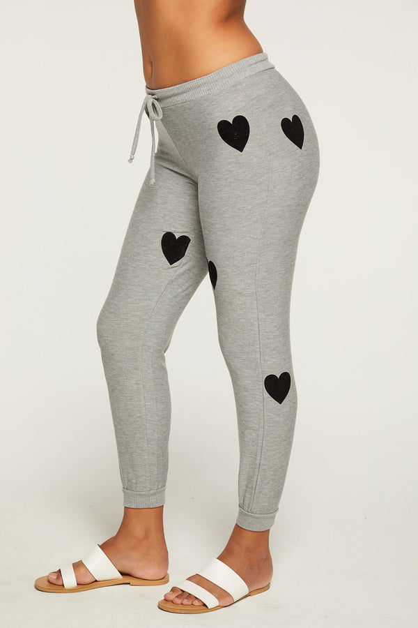 Chaser - Flocked Hearts Pants - Heather Grey