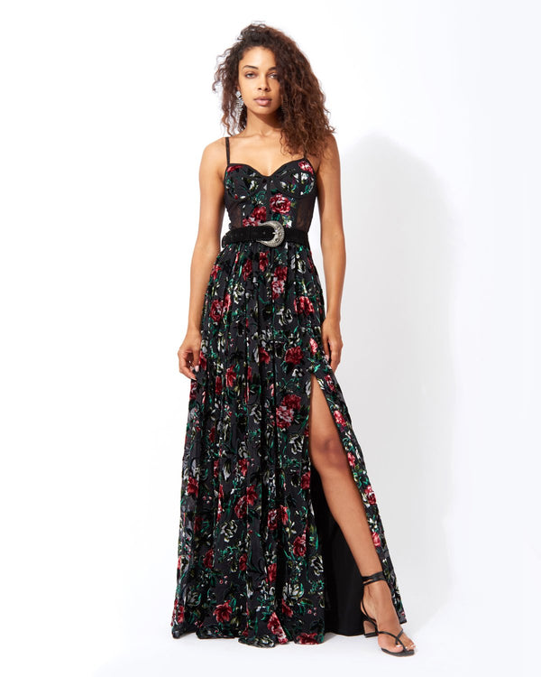 Patbo -FLORAL BURNOUT BUSTIER DRESS WITH BELT - Black