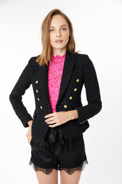 Generation Love - Delilah Tweed Blazer - Black Lurex