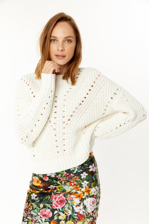 Generation Love - Nadia Perf Sweater - White