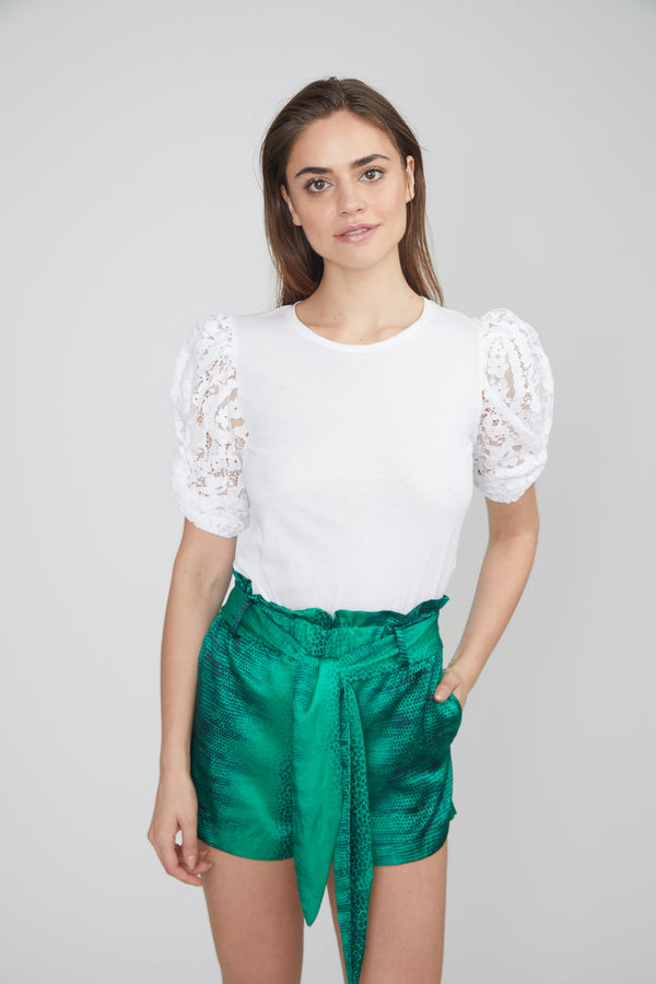 Generation Love - Hillary Top Jersey twisted puff lace sleeves - White
