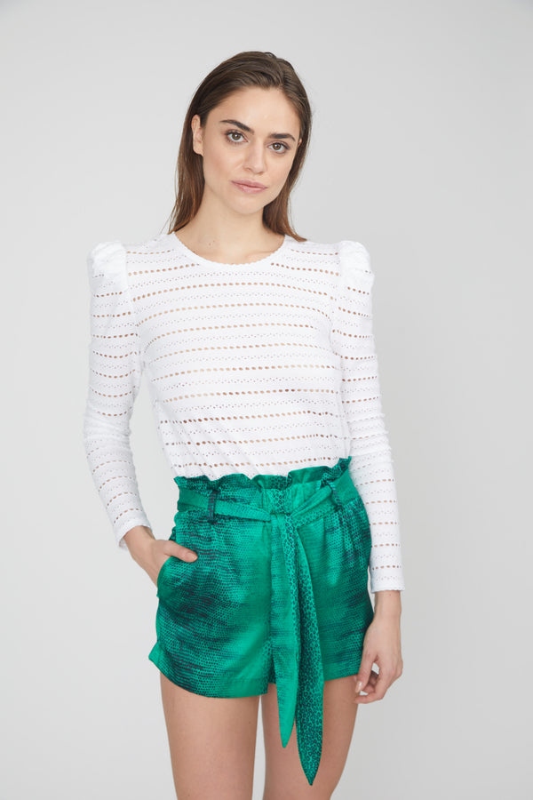Generation Love - Larissa Top Pointelle Jersey Knit Puff Long Sleeves - White