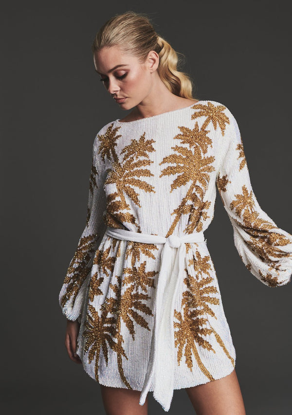 Retrofete - Grace Dress - White w/Gold Palm
