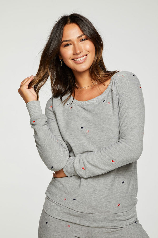 Chaser - Heart and Arrow Pullover - Heather Grey