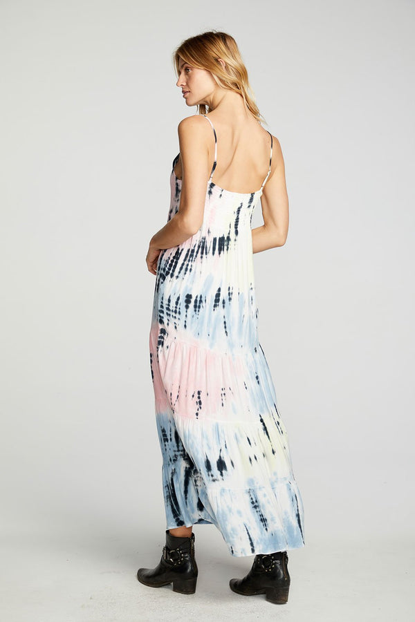 Chaser - Heirloom Wovens Tiered Ruffle Maxi Dress - Summerland Tie Dye