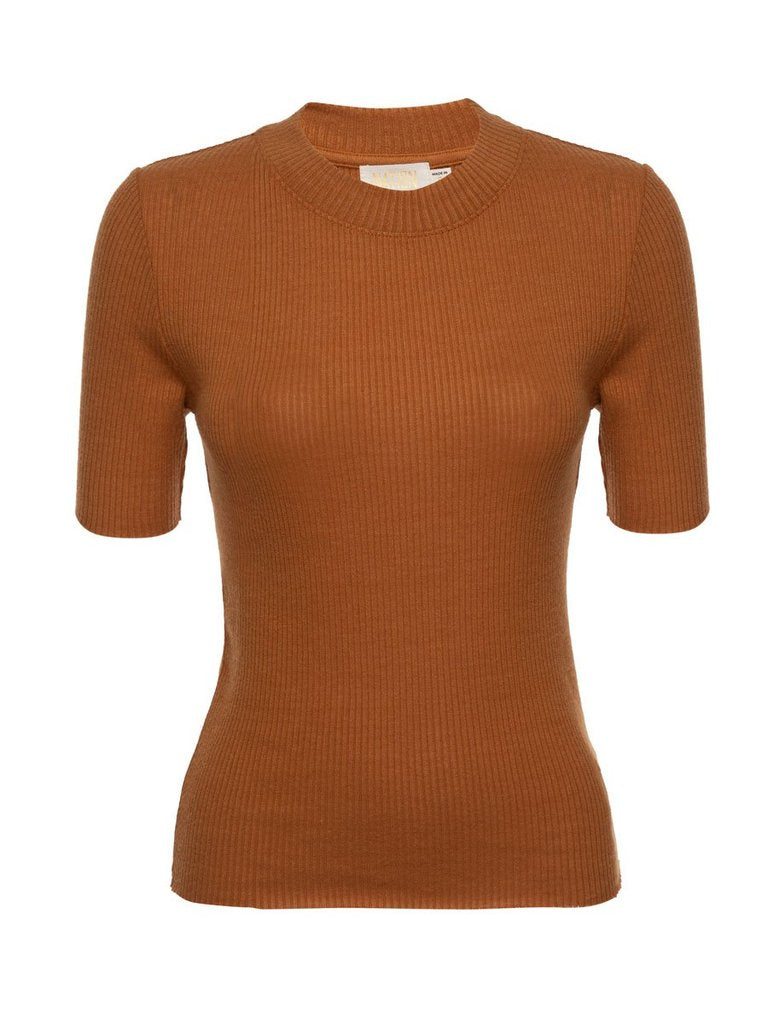 Nation LTD - IDA Mock Neck Tee - Butterscotch