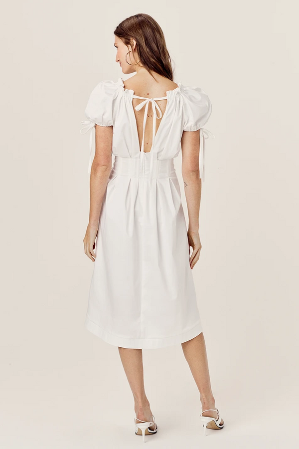 FOR LOVE & LEMONS -EFFIE MIDI DRESS - WHITE