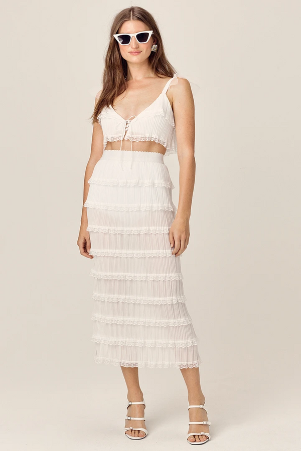 FOR LOVE & LEMONS -POSIE MIDI SKIRT - WHITE