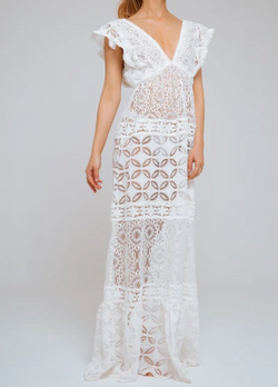 Waimari - Nicole V Neck Lace Dress - Ivory