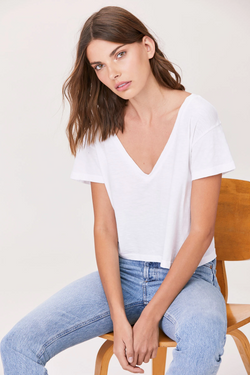 LNA - Sparks V Neck - White