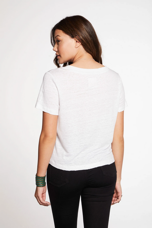 Chaser - Linen Jersey Cropped Short Sleeve V Neck Tee - White