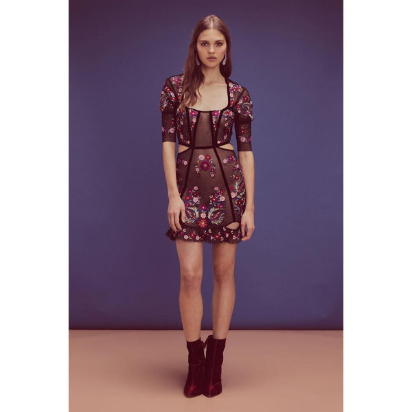 For Love & Lemons - Ester Embroidery Mini Dress - Noir
