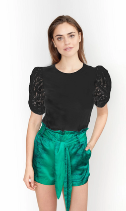 Generation Love - Hillary Top Jersey twisted puff lace sleeves - Black