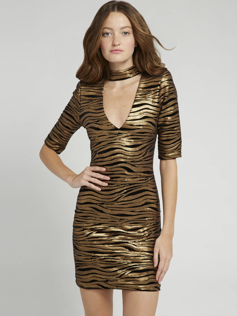 Alice + Olivia - INKA GOLD V-NECK DRESS - Black/Gold