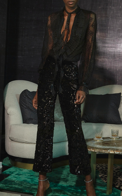 Alexis - Pace Pants - Black Sequin Velvet