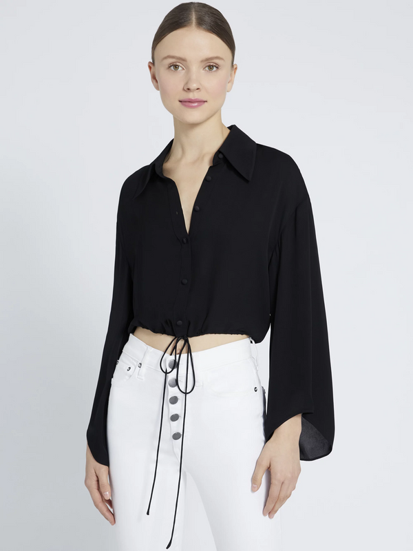 Alice + Olivia - Larken Collared Button Down - Black