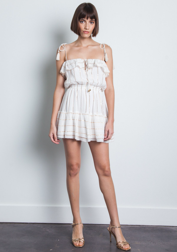 KARINA GRIMALDI PALOMA STRIPE METALLIC MINI - WHITE STRIPE