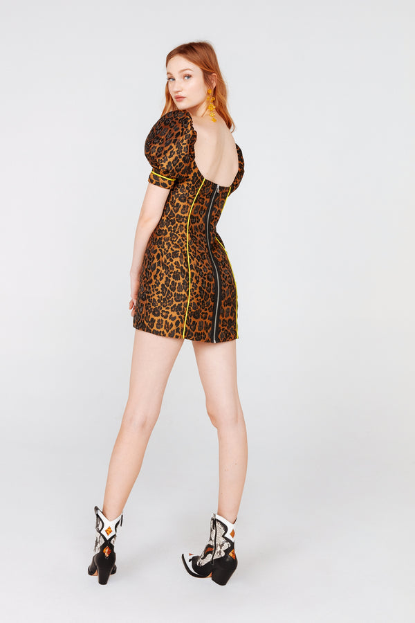 For Love & Lemons - JETT FITTED MINI DRESS - Leopard