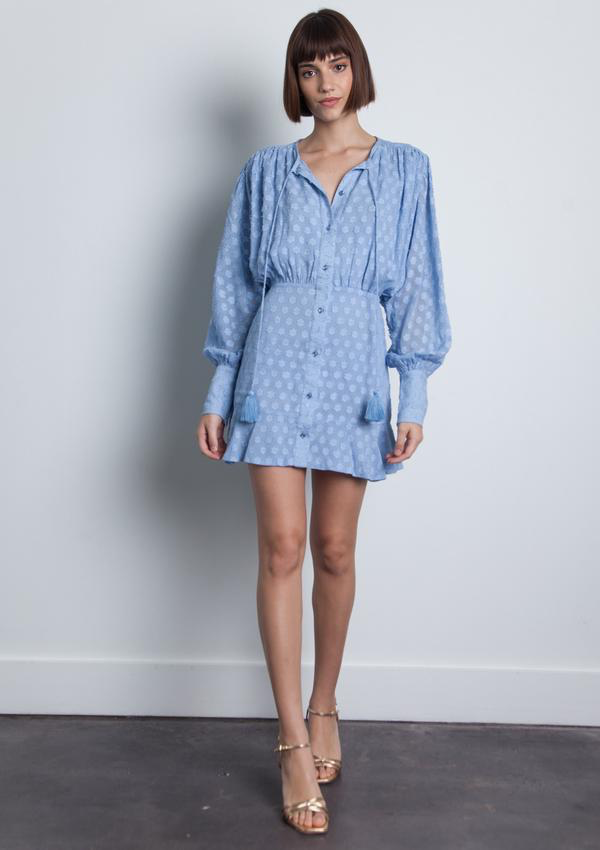 KARINA GRIMALDI SAMI MINI DRESS - LIGHT BLUE