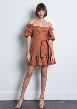 KARINA GRIMALDI MARTHA LINEN MINI DRESS - SAND