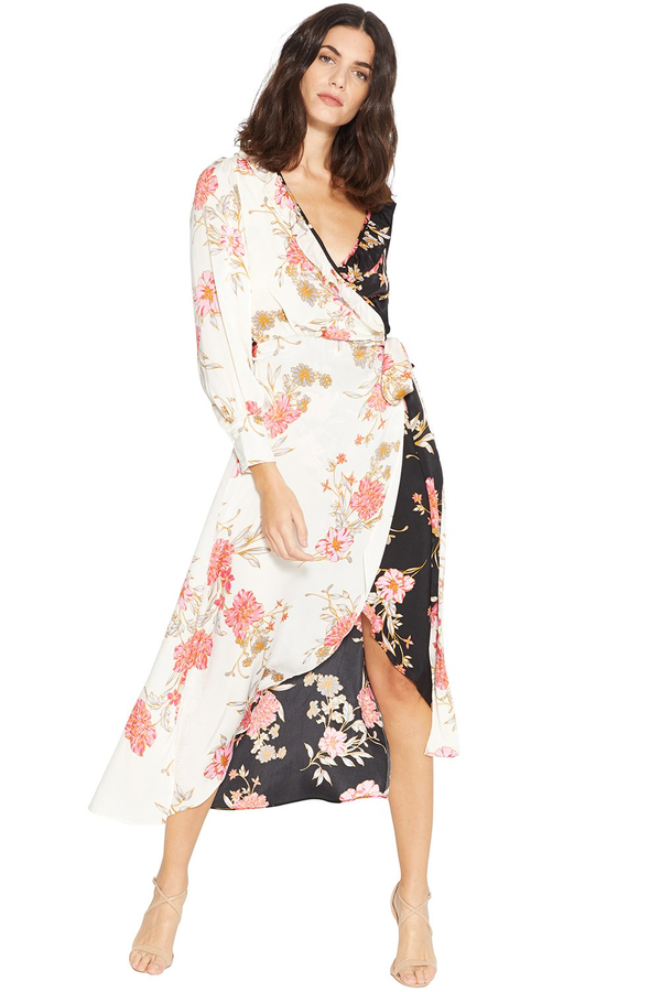 Misa - Tabitha Wrap Dress - Black/Cream Floral