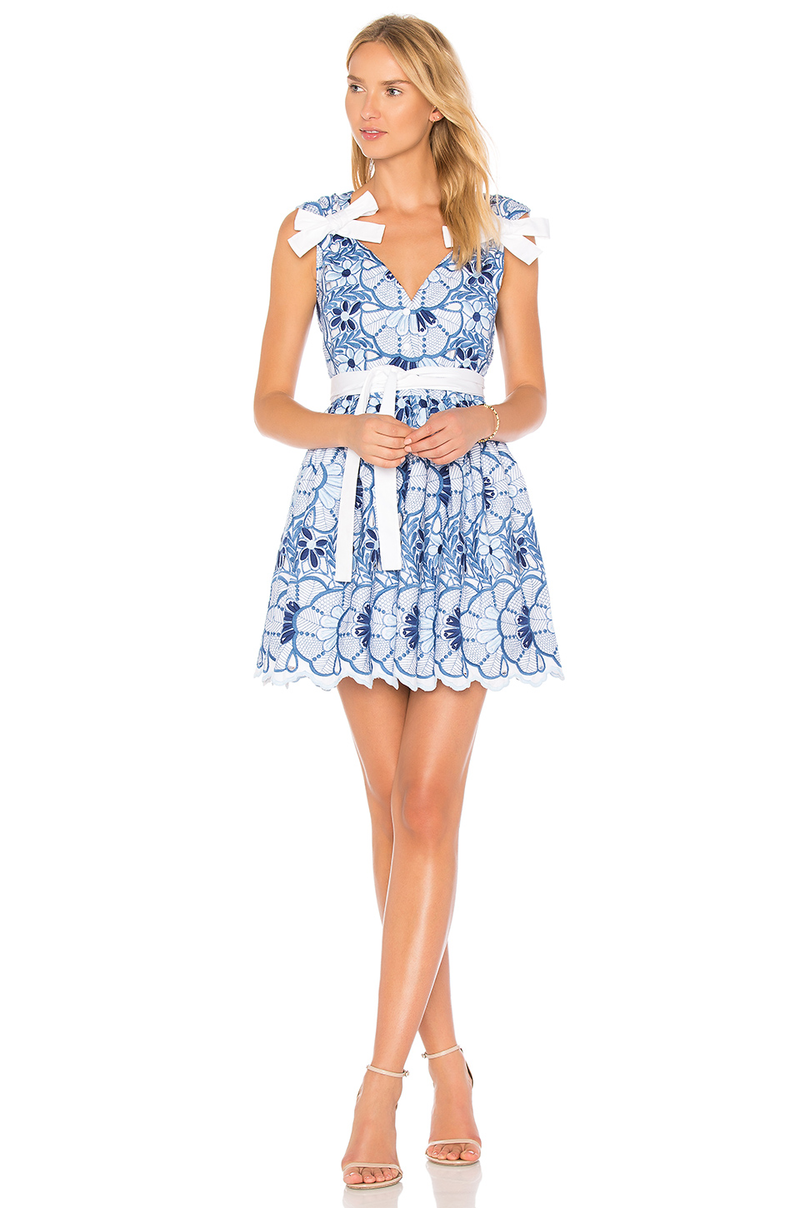 Alexis - Lucia Short Dress- Blue Floral Embroidery