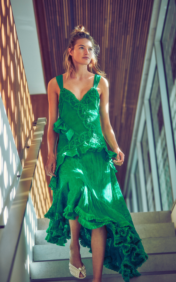 Alexis - Bozoma Asymmetrical Midi Dress - Emerald Green