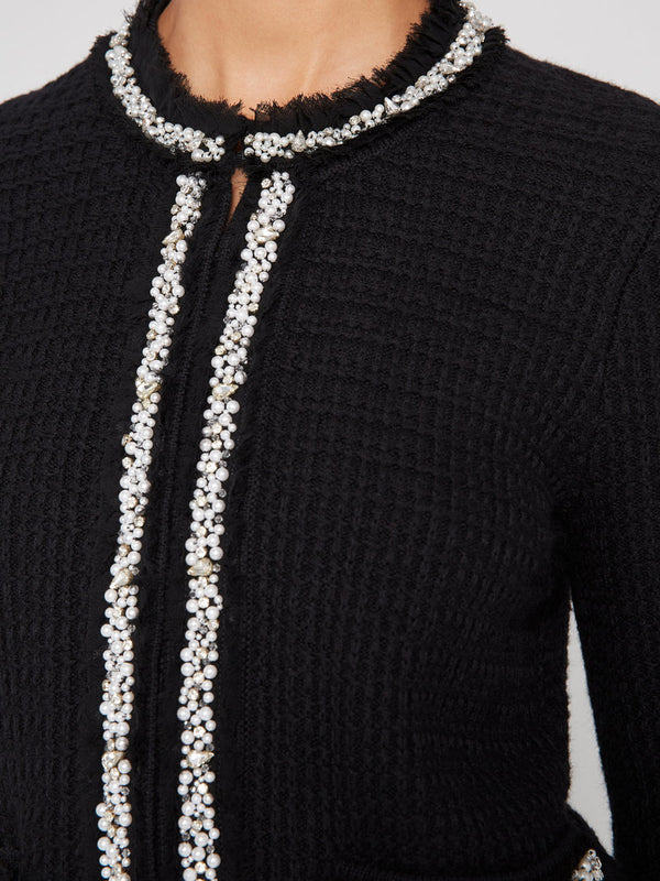 Alice + Olivia - Georgia Short Embellished Sweater Jacket - Black