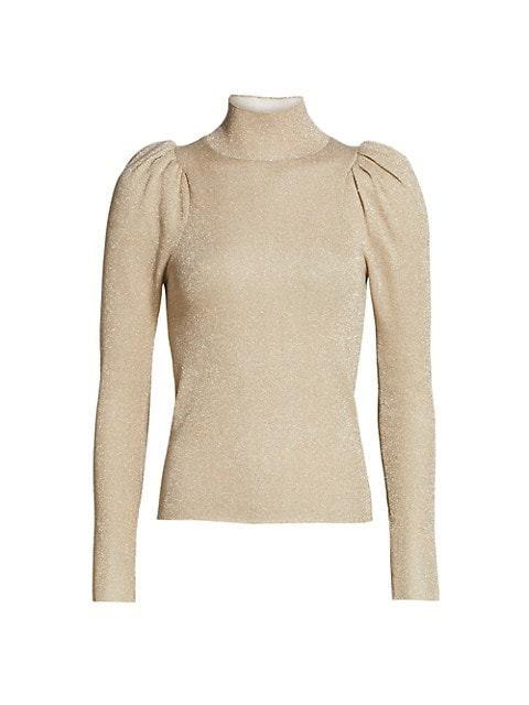 Alice & Olivia - Issa Turtleneck Puff Sleeve Fitted Pullover - Champagne