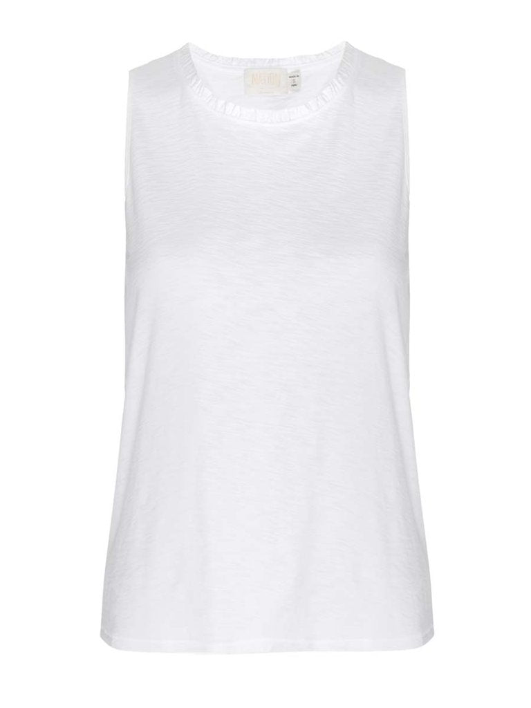 Nation LTD - Janie Sleeveless Ruffle Neck - White