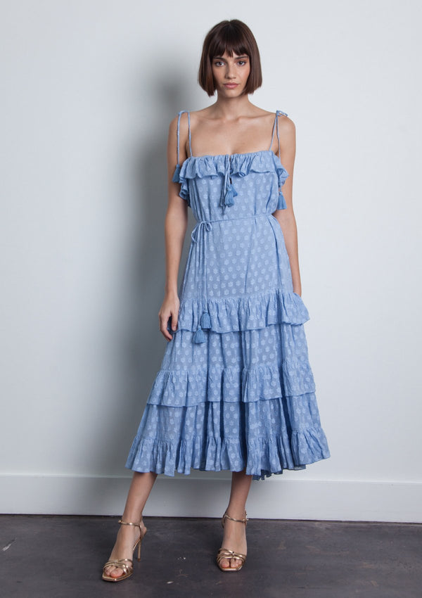 KARINA GRIMALDI LORI MIDI DRESS - BLUE
