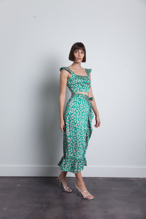 Karina Grimaldi - Lola Print Wrap Skirt - Green Floating Leaf