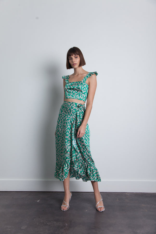 Karina Grimaldi - Tuni Print Top - Green Floating Leaf