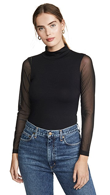LNA - Eves Mesh Turtleneck - Black