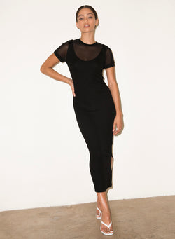LNA - Lola Ribbed Dress - Black