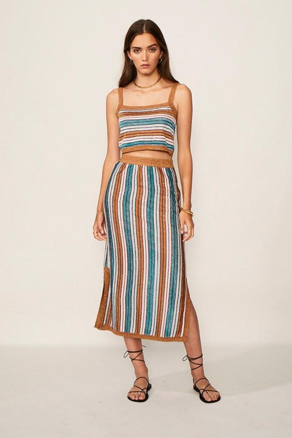 Suboo - Lolita Knit Midi Skirt - Metallic Stripe