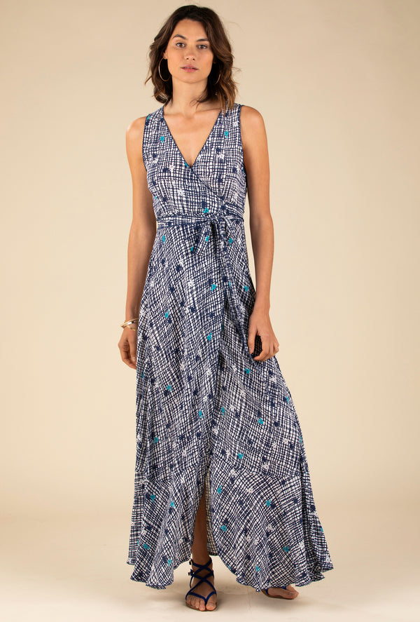 Poupette St Barth - Long Dress Bonnie Layered - Blue Maze